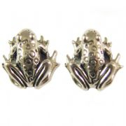 Sterling Silver Stud Earrings - Frogs , Froggies
